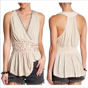 Free People Embroidered Peplum Top - S Tan ,